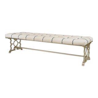 French 1940s Style Silver Painted Iron Bench For Sale