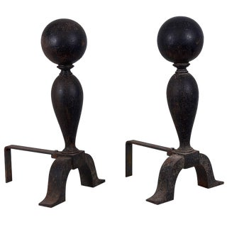 Colonial Cast Iron Cannonball Andirons For Sale
