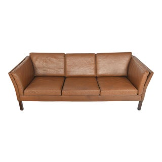 Danish Modern Brown Leather Three Seat Sofa For Sale