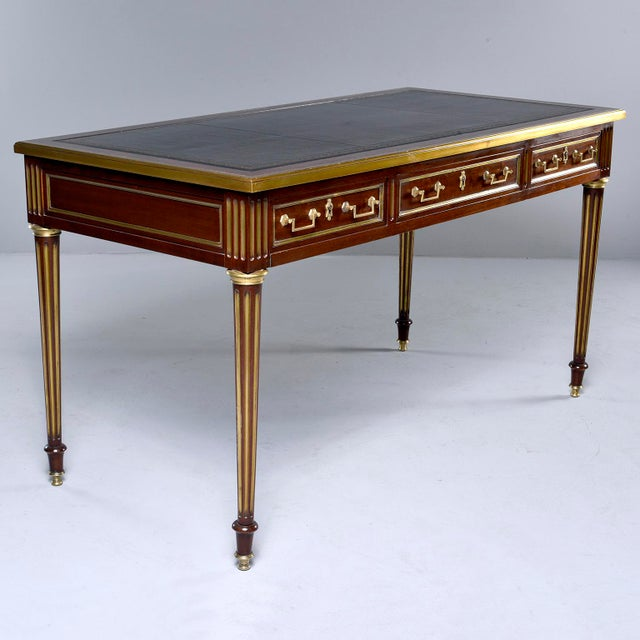 Animal Skin Louis XVI Style Mahogany Writing Desk With Brass Mounts For Sale - Image 7 of 13
