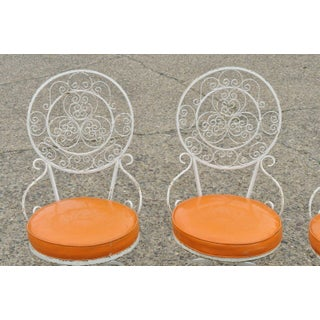 Vintage Swivel Seat Wrought Iron Round Fancy Scroll Back Dining Chairs- Set of 4 Preview