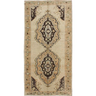 Vintage Turkish Oushak Gallery Rug With Two Medallions in Taupe, Brown and Cream For Sale