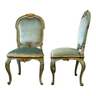 18th Century Italian Polychrome Guilt Side Chairs - a Pair For Sale