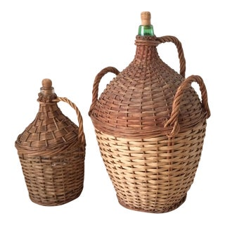 Pair of Vintage French Wicker Wrapped Glass Demijohn Jugs With Handles For Sale