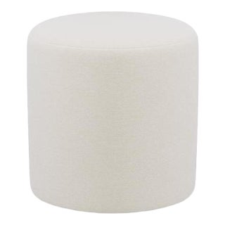 Drum Ottoman in White Velvet For Sale
