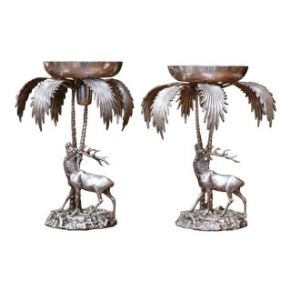 Pair of Early 20th Century Silvered Bronze Centerpieces With Deer Sculpture For Sale