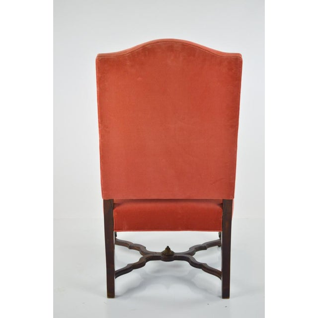 French Louis XIII-Style Velvet Armchair in Salmon For Sale - Image 3 of 7