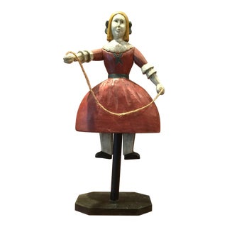 Rustic Folk Art Carved Wooden Girl Figurine With Jump Rope For Sale