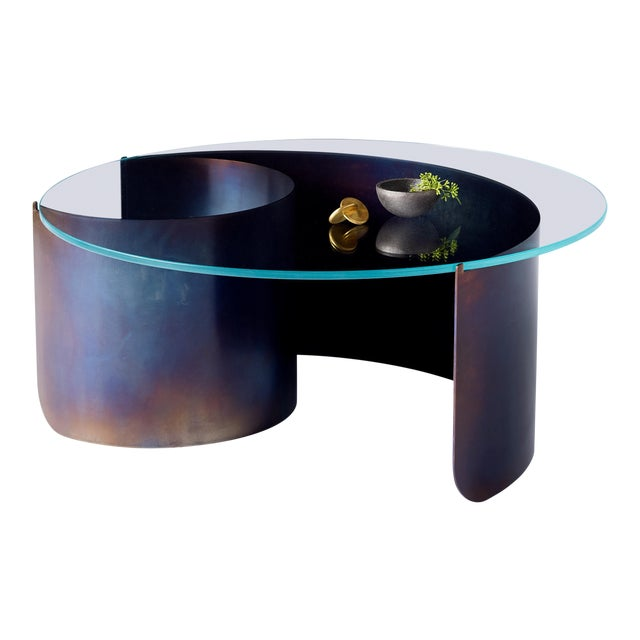 Wave Coffee Table in Contemporary Heat Tempered Steel and Starfire Glass For Sale