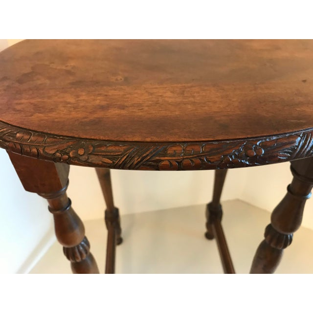 Vintage Carved Top Oval Shaped Drink Table For Sale In Dallas - Image 6 of 8