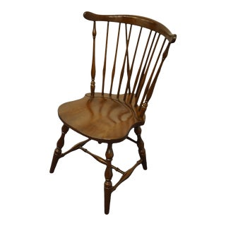 Pennsylvania House Solid Cherry Fiddleback Duxbury Windsor Side Chair For Sale
