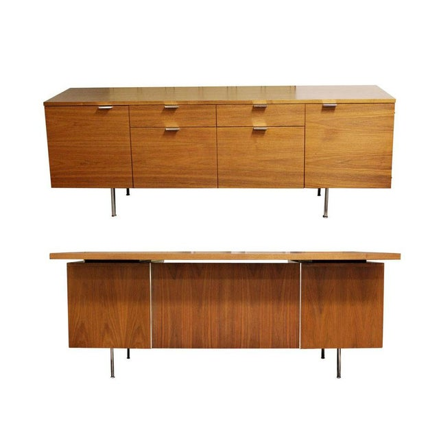 1950s Mid Century Modern George Nelson Herman Miller Walnut Desk & Credenza - 2 Pieces For Sale - Image 13 of 13
