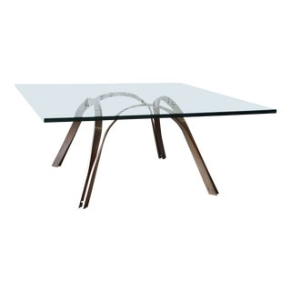 Mid-Century Brass and Glass Coffee Table For Sale