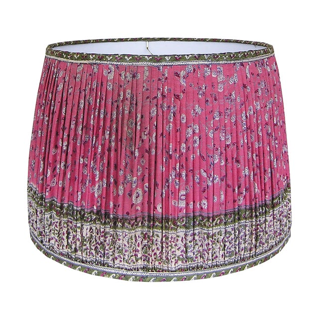 Rose Red/Green Silk Sari Gathered Lamp Shade For Sale - Image 4 of 4