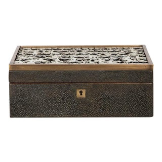 Genuine Shagreen Jewelry Box with Exotic Feather Accents For Sale