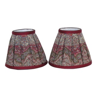 Tradtional Burgundy and Tan Paisley Handmade Lampshades - a Pair For Sale
