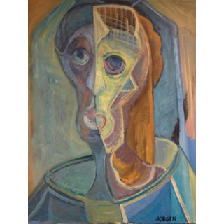 Vintage Mid Century Abstract Portrait Painting by Jorgen Hansen For Sale