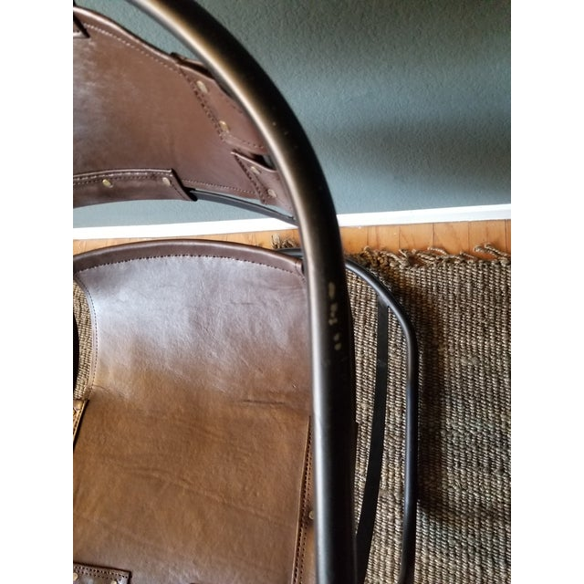 Tobacco Leather Round Lounger Chair - Image 7 of 9