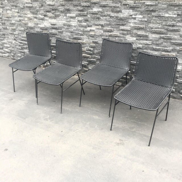 Modern Black Woven Outdoor Dining Chairs - Set of 4 - Image 4 of 8