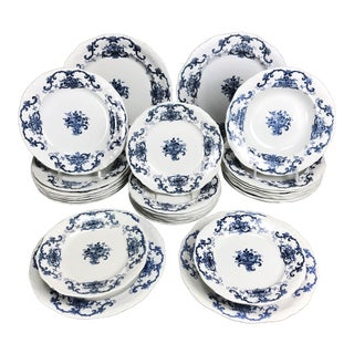 English 19th Century Blue and White Dishes Benjamin Floyd Staffordshire - 30 Pieces For Sale