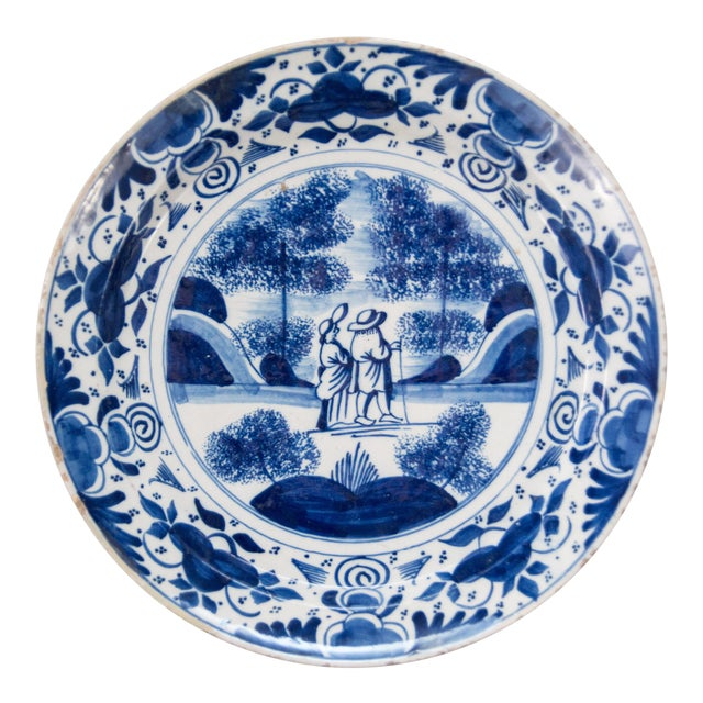 Antique 18th-Century Dutch Delft Plate With Figures For Sale