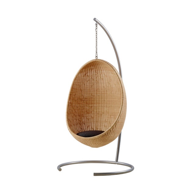 Mid-Century Modern Nanna Ditzel Hanging Egg Chair - Natural - Sunbrella Sailcloth Shade Cushion with 5 Foot Chain For Sale - Image 3 of 11
