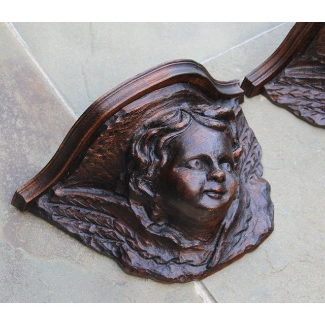 Wood Pair Antique French Oak Wall Shelves Corbels Angels Cherubs Gothic Victorian For Sale - Image 7 of 13