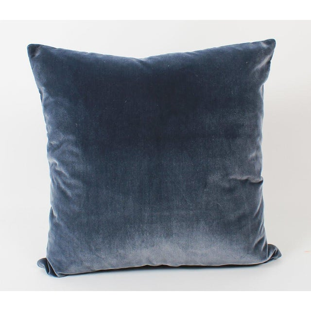Navy Leather Greek Key Pillows, Pair For Sale In Atlanta - Image 6 of 7