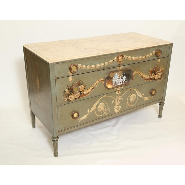 Glass Hand-Painted Italian Commode With Églomisé Plaque For Sale - Image 7 of 10