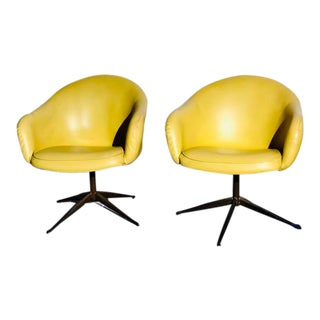 Mid-Century Modern Leather Swivel Pod Armchairs - 2 Available For Sale