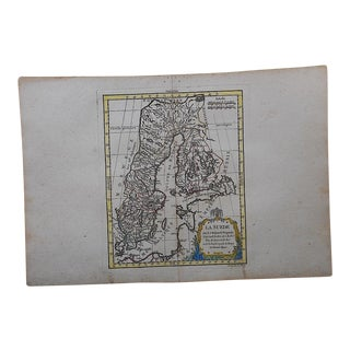 Antique 18th C. Map-Sweden-Hand Colored Engraving For Sale