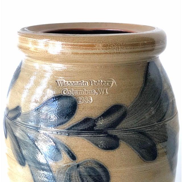 Farmhouse Salt Glazed Vase With Cobalt Blue Floral Motif - Vintage For Sale - Image 4 of 12