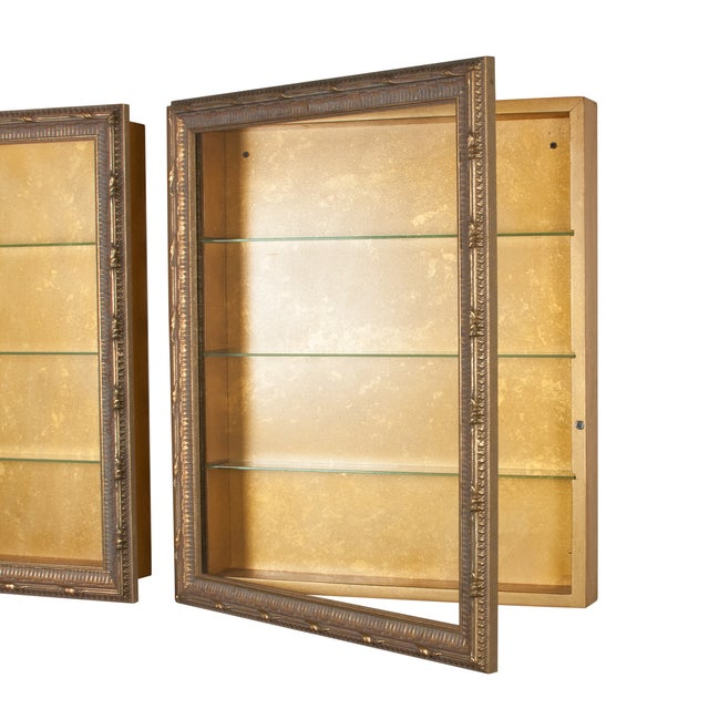 Wall-Mounted Giltwood Vitrines - Pair For Sale - Image 5 of 9