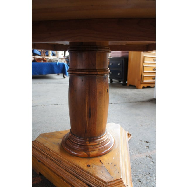 Rustic Rustic Ralph Lauren Distressed Pine Pedestal Table For Sale - Image 3 of 13