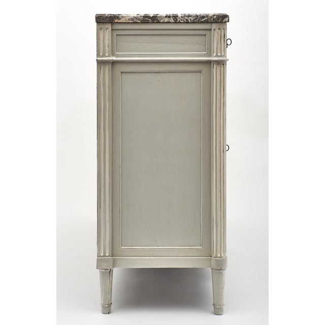 Gray Painted Louis XVI Style Buffet With Marble Top For Sale - Image 8 of 11