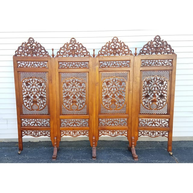 "Southeast Asian ""Lion Shanghai"" Hardwood 4-Panel Screen For Sale - Image 11 of 11"