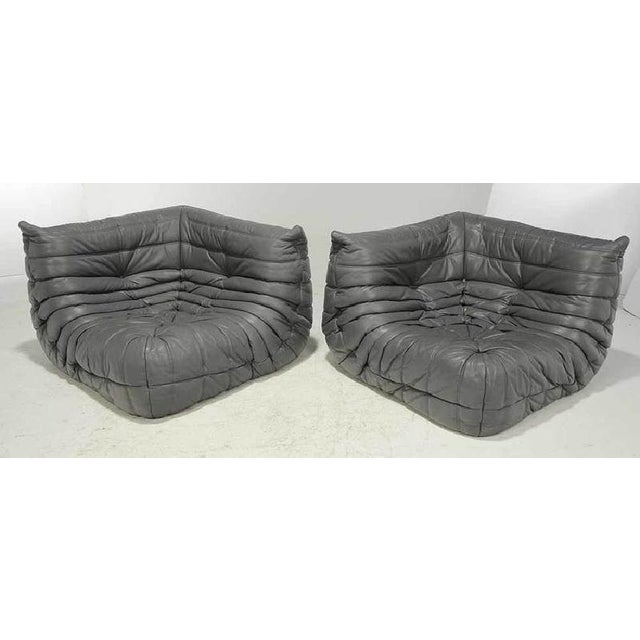 French Rare Original 1980's Five Piece Leather Togo Sofa Set by Michel Ducaroy for Ligne Roset For Sale - Image 3 of 6