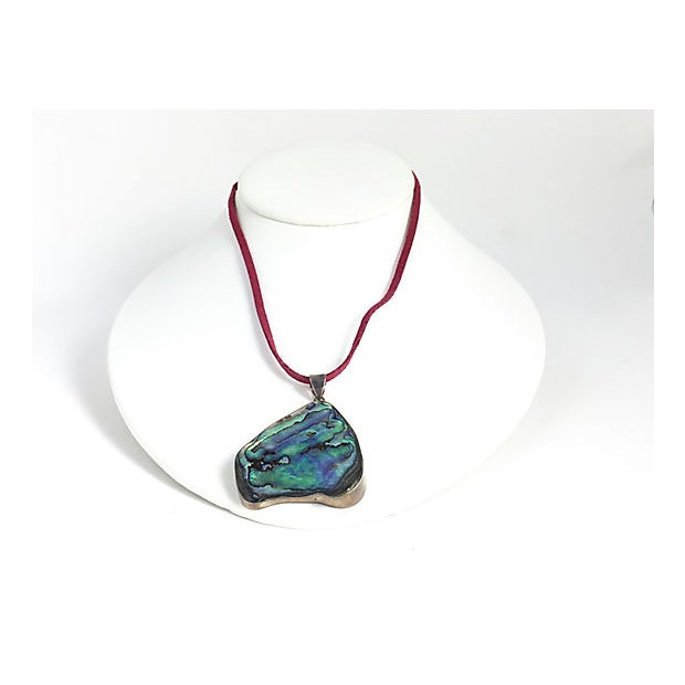Abalone Shell Sterling Pendant Necklace For Sale - Image 4 of 7