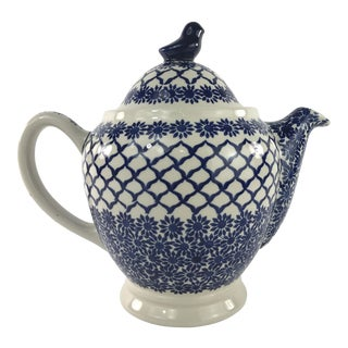 Vintage Blue and White Boleslawiec Teapot For Sale