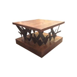 Farm Barn Wood And Tractor Plow Table For Sale