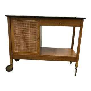 Mid 20th Century Cane Bar Cart For Sale