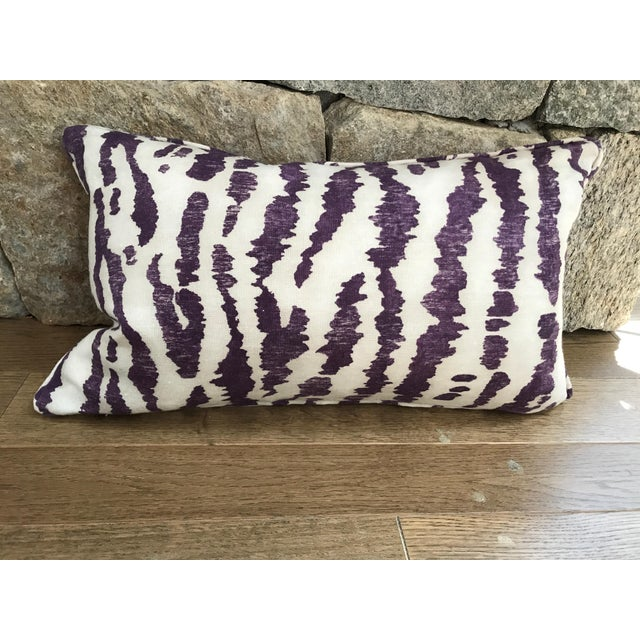 """2010s Transitional Custom Down-Filled Lumbar Schumacher's """"Animaux"""" Covered Pillow -20x12"""" For Sale - Image 5 of 5"""