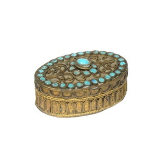 Turquoise Glass Bead Dresser Box