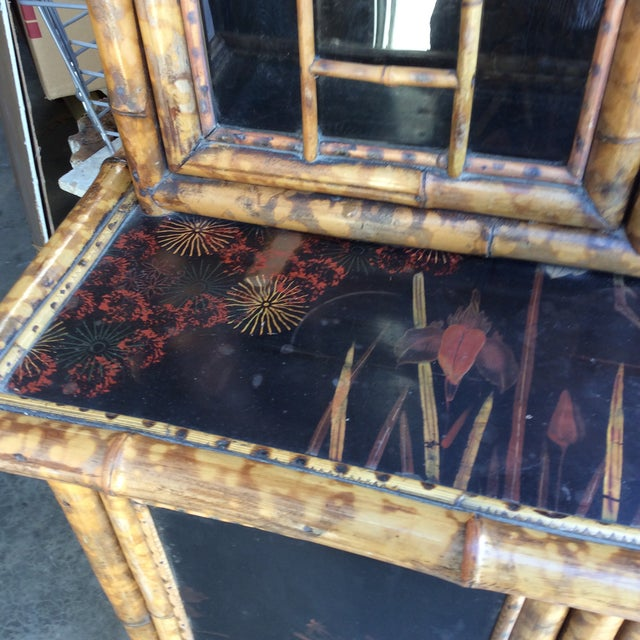 Tan Antique Bamboo Cabinet For Sale - Image 8 of 11
