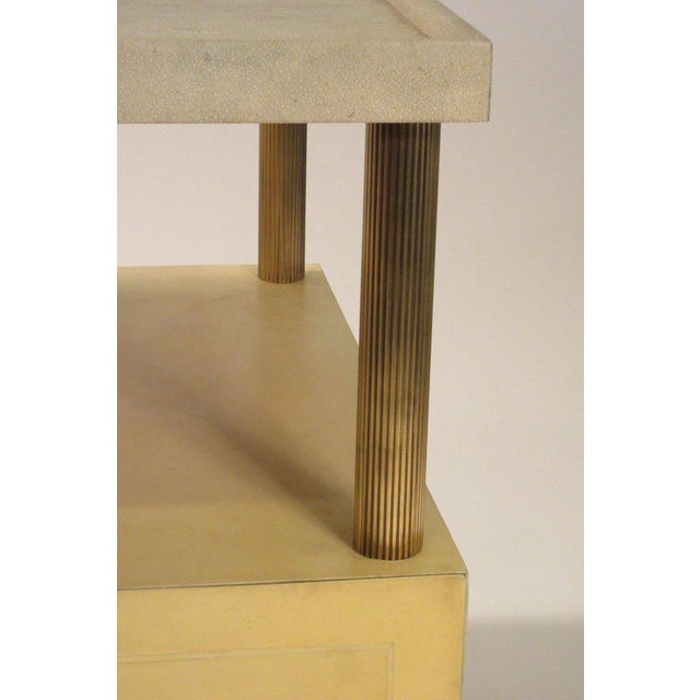 1980s Contemporary Garrison Rousseau Custom Shagreen and Parchment Side Table For Sale In New York - Image 6 of 13