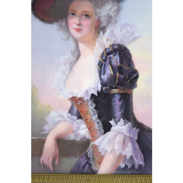 19th Century Antique O. Brun Elisabeth of France Continental Hand-Painted Porcelain Plaque For Sale - Image 4 of 10