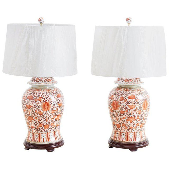 Pair of Chinese Porcelain Floral Ginger Jar Lamps For Sale - Image 13 of 13