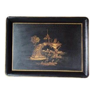 Chinoiserie Hand Painted Tole Tray For Sale
