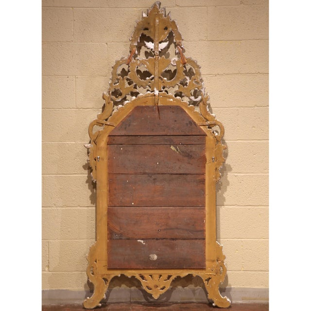 Wood Mid-20th Century, Italian Carved Silver Leaf Mirror With Painted Coral Trim For Sale - Image 7 of 8