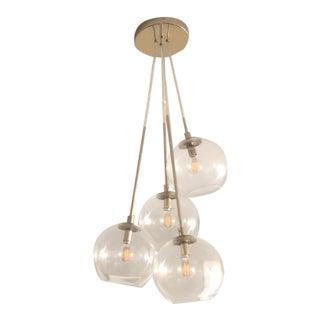West Elm Structural Glass Globe Chandelier For Sale